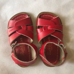 Salt Water kids leather shoes - Red